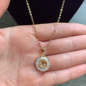 """New 18K gold """" G """" CZ diamond necklace"""
